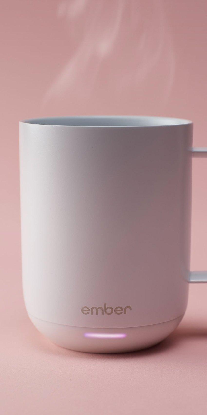 steaming ember mug on pink background