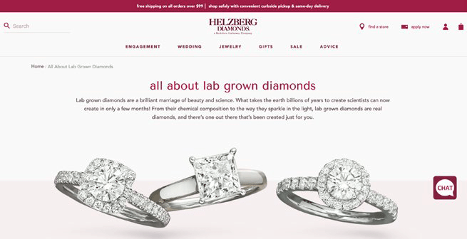 all about lab grown diamonds product page