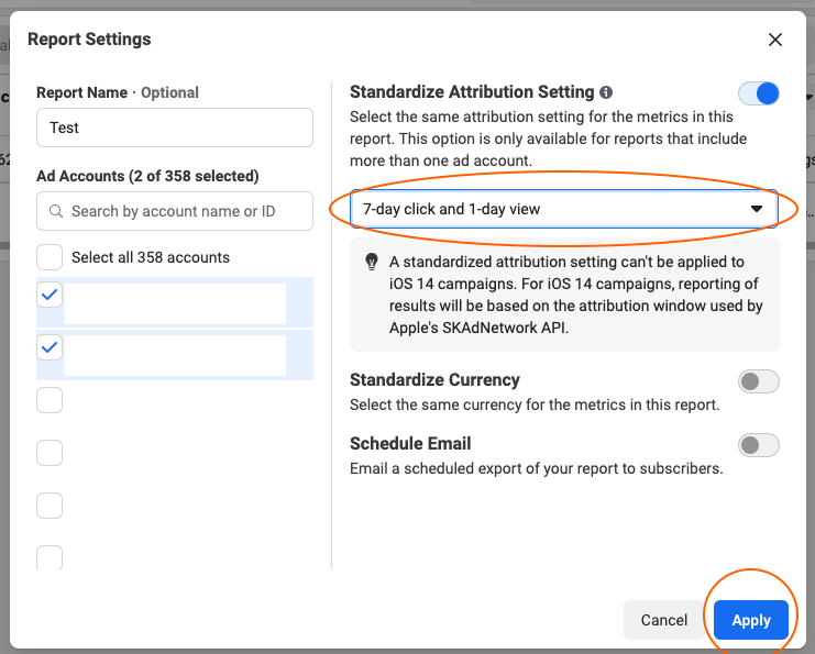 facebook business manager standardized attribution setting