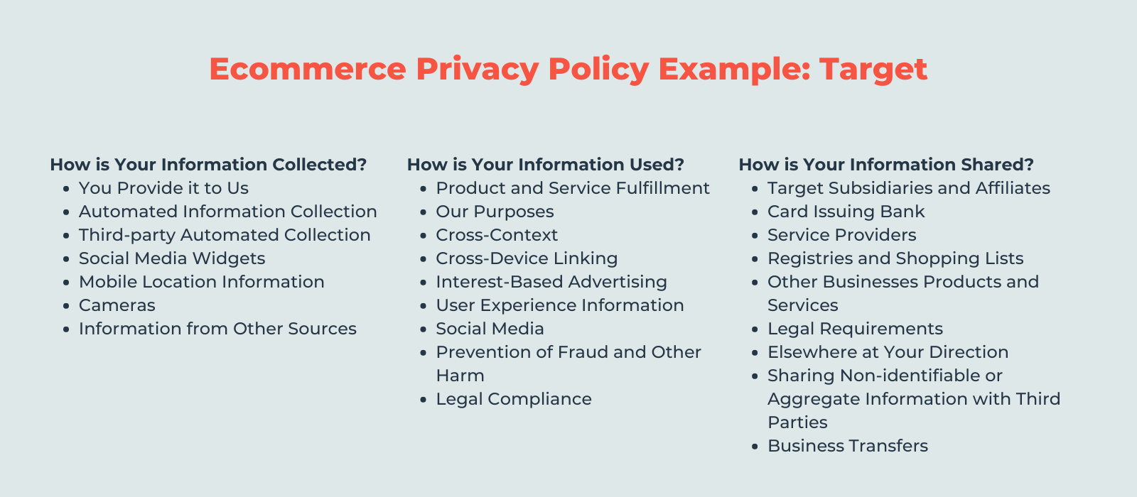 ecommerce privacy policy example: target