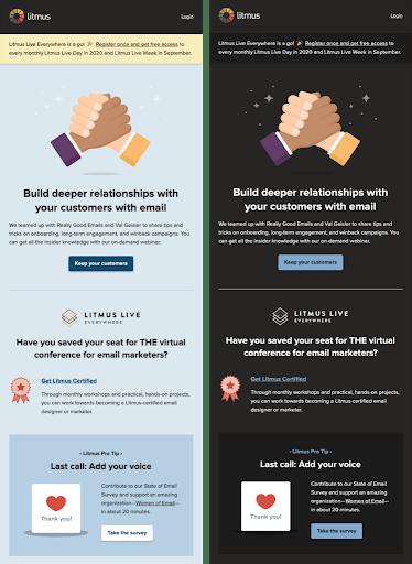 Dark Mode Email Designs