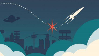 Cartoon rocket taking off in futuristic landscape